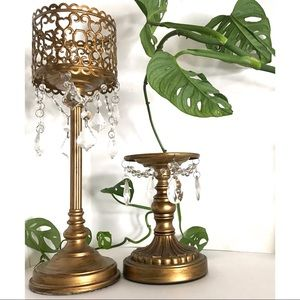 Other - Opulent Antique Style Gold &Crystal Candle Holders